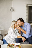 Lovely young couple eating pizza Stock Images