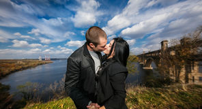 Lovely young couple kissing Stock Photo