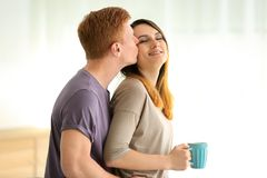 Lovely young couple resting. At home Royalty Free Stock Photography