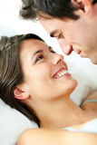 Lovely young couple in a romantic mood Stock Photos