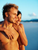 Lovely young couple at the sea shore Stock Photo