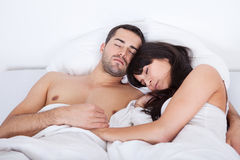 Lovely young couple sleeping Royalty Free Stock Images
