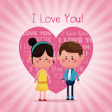 Lovely young couple smiling i love you pink heart background Stock Photo