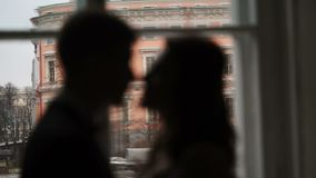 Lovely young couple staying near window. Silhouette stock footage