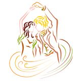 Lovely young dancing couple, magic of dance and love vector illustration