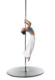 Lovely young girl dancing on pylon. Studio photo Royalty Free Stock Image