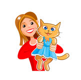 Lovely young girl with a funny kitty cat. Cartoon cute girl with a funny cat in a blue dress Royalty Free Stock Images