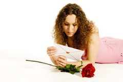 Lovely young girl with loveletter Royalty Free Stock Photography