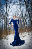 Lovely young lady in elegant blue dress posing in winter scenery, royal look. Fashionable blonde woman with forest in background Royalty Free Stock Images
