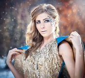 Lovely young lady in elegant dress posing winter scenery, royal look Royalty Free Stock Photos