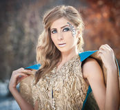 Lovely young lady in elegant dress posing winter scenery, royal look Stock Photos