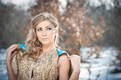 Lovely young lady in elegant dress posing winter scenery, royal look Royalty Free Stock Photo