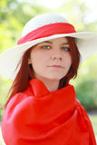 Lovely young lady in ummer hat Stock Photography