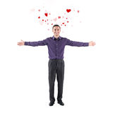 Lovely young man declaration of love welcoming you Royalty Free Stock Photos