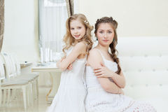 Lovely young models posing in restaurant Royalty Free Stock Photos