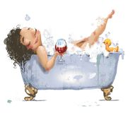 Lovely young woman in bath. With glass of wine vector illustration