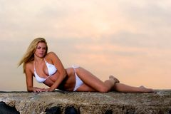 Lovely Young Woman in a Bikini. Beautiful Young Woman in a Bikini on the beach royalty free stock photography