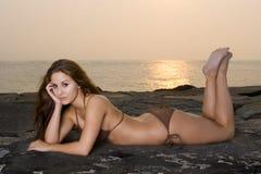 Lovely Young Woman in a Bikini. Beautiful Young Woman in a Bikini on the beach Royalty Free Stock Photo