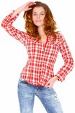 Lovely young woman in casual clothing Stock Photo