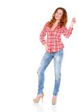 Lovely young woman in casual clothing Stock Images