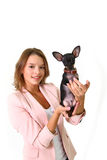 Lovely young woman with Chihuahua isolated on white background Royalty Free Stock Photography
