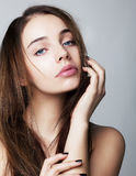 Lovely young woman closeup portrait health concept royalty free stock images