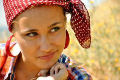 Lovely young woman on farm Stock Photo