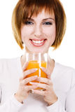 Lovely young woman with fresh juice Royalty Free Stock Image
