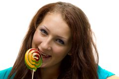 Lovely young woman with lolipop Stock Photography