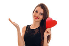 Lovely young woman with red lips celebrating valentines day with hearts isolated on white background royalty free stock photos