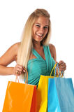 Lovely young woman shopping stock photos