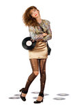 Lovely young woman with vinyl disc Royalty Free Stock Photo