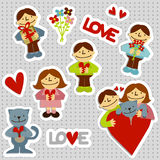 LOVEman Stickers. Set of love stickers with elements like a man, a woman, a cat, flowers, heart shapes, gift, and text love Royalty Free Stock Images