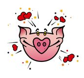 Lovepig. Cartoon  illustration of a pig in love Royalty Free Stock Photography