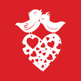 Lover Birds On Heart Royalty Free Stock Image