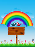 Lover Birds and Rainbow - full color Royalty Free Stock Image