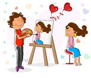 Lover boy painting portrait of girl Stock Photo