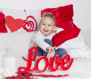 Lover boy smile in Valentine's Day Royalty Free Stock Photo