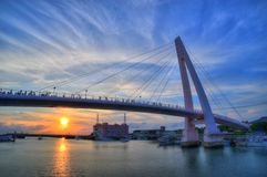 Lover Bridge of Tamsui Fisherman's Wharf, Sunset stock photo