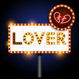 Lover and broken heart neon sign Stock Photography