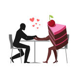 Lover of cakes. Man and piece of cake in cafe. Lovers sitting at Royalty Free Stock Photography