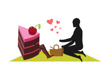 Lover of cakes. Man and piece of cake On picnic. Lovers and Bask. Et and picnic blanket. Glutton of Lifestyle vector illustration