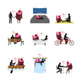 Lover of cakes set. Man and piece of cake in movie theater. Love Stock Images