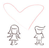 Lover. Cartoon couple in love , valentine time Stock Photography