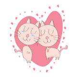 Lover Cat. Illustration of icon couple cat on white background Stock Photos