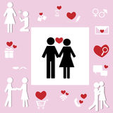 Lover Couple Icon of Sweetheart Relationship Concept. Design collection of lover couple icon for sweetheart relationship concept Stock Photography