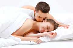 Free Lover Couple In Bed Stock Photography - 17473052