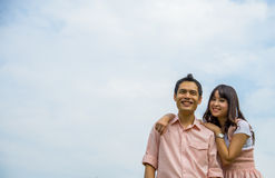 Lover couples smile with blue sky Stock Photos