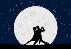 Lover dance with the moon. At starry night on grass field Stock Image