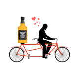 Lover drink alcohol. Bottle of whiskey on bike. Man rolls brandy royalty free illustration